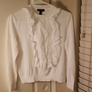 J.Crew white blouse top with ruffle front